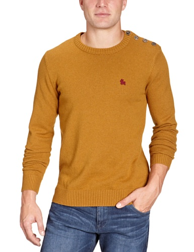 JACK & JONES Herren Pullover 12058171 Button O-Neck, Gr. 50 (M), Braun (GOLDEN BROWN) (Brown Pullover Wool Crewneck)