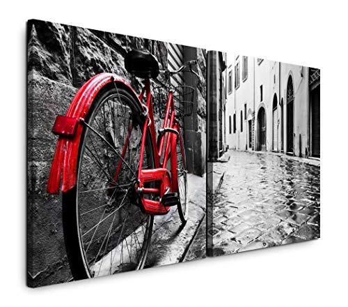 Paul Sinus Art GmbH Retro Fahrrad in Alter Stadt 120x60cm - 2 Wandbilder je 60x60cm Kunstdruck modern Wandbilder XXL Wanddekoration Design Wand Bild - Alter Art
