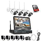 SANNCE Überwachungskamera Set drahtloses NVR Wifi-Kamera-System mit 10.1' Monitor und 4 * 720p Wifi-IP Netzwerkkamera Vorinstalliert 2TB Festplatte Video Überwachungssystem für Haus Innen Outdoor