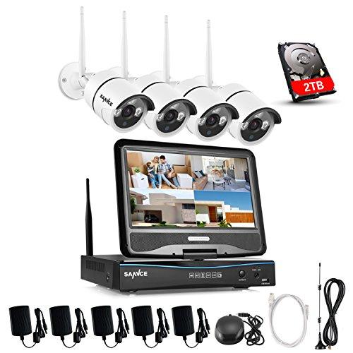 """SANNCE Überwachungskamera Set drahtloses NVR Wifi-Kamera-System mit 10.1"""" Monitor und 4 * 720p Wifi-IP Netzwerkkamera Vorinstalliert 2TB Festplatte Video Überwachungssystem für Haus Innen Outdoor"""