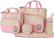 Diaper Tote Diaper Tote Bag 5 pcs Nappy Bag Set Water-proof Large Capacity Travel Handbag Shoulder Bag Include