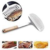 Tornitore a spatola sottile antiaderente, pesce da cucina leggero ma robusto con manico in legno morbido, adatto per pesce alla griglia di casa e ristorante