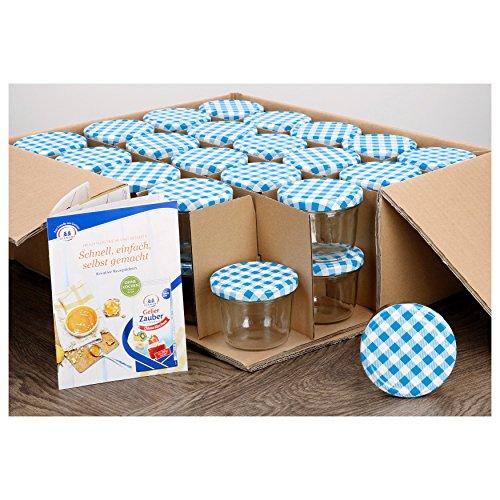 MamboCat 40er Set Sturzgläser 230 ml mit blau kariertem Deckel to 82 inkl. Diamant Gelierzauber Rezeptheft Marmeladengläser Einmachgläser Einweckgläser