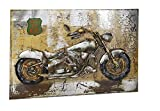 Kobolo Metall-Wandbild 3D-Optik Route 66 Motorrad 108x72 cm