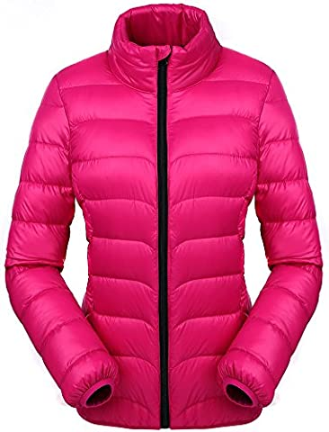 Valuker Damen Daunenjacke 90% Daunen Winter Jacke Stehkragen Winterjacke Ultra leicht NVDLL01(Gr 40 / XL Violett)