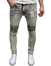Seven Series Branded Mens Scuffed Stretch Super Skinny Acidwash Biker Jeans
