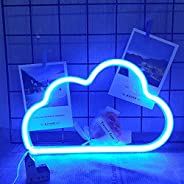 Blue Cloud Light Neon Signs, REAKOO Neon Lights for Wall Decor, Battery or USB Operated LED Cloud Neon Light S