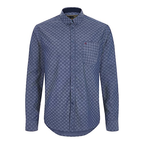 Merc of London Newark, L/S Geo Print Chambray Shirt, Chemise Casual Homme