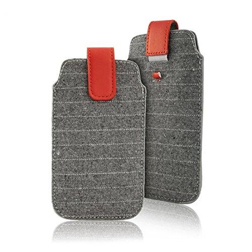 """Preisvergleich Produktbild Handytasche grau geeignet für """"Samsung Galaxy S7 Edge"""" Handy Schutz Hülle Slim Case Cover Etui mit Auszugband rot"""