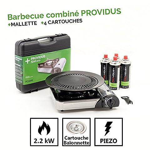 Combined Gas Barbecue Grill PROVIDUS + 4Gas 230g Butane Mix Gas Cartridge Piezo baillonnette