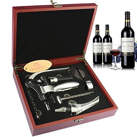 yobansa Holz Box 9-teilig Wein Zubehör Geschenk Set mit Schach, Kaninchen Korkenzieher-Set, Öffner und Stopper Set Rosewood 7 set (3 Lb Paket)