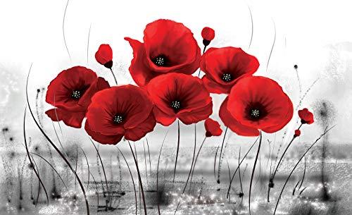 Moderne Blüte (Forwall Fototapete Vlies Tapete Wandtapete Mohnblumen Rot - Natur Mohn Pflanze Blüte Blumenwiese Moderne Wand Dekoration Wandbild 2254V4 254cm x 184cm Schlafzimmer Wohnzimmer)