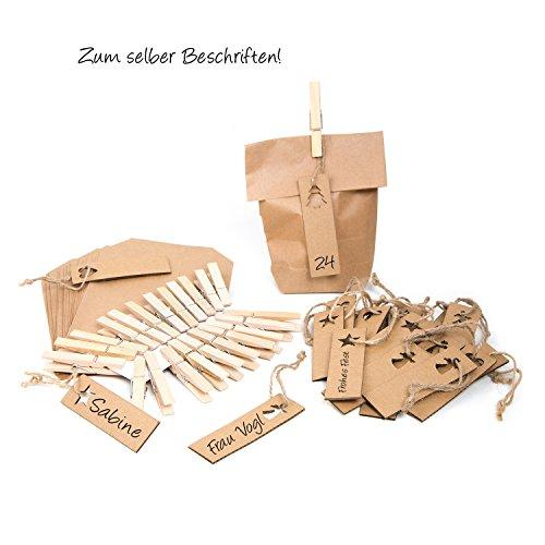 24 Stück braune Papiertüten Kraftpapier (14 x 22 x 5,5 cm) + 24 Advents-Zahlen Papp-Anhänger (3 x 10 cm) + Klammern; Adventskalender Bastel-Set für Kinder + Erwachsene natürlich + lebensmittel-echt (Kraftpapier-geschenk-korb)