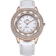 Relojes Mujer Baratos AnalóGica Correa De Piel Correa De Color Blanco Plateado Diamante Esfera Reloj De