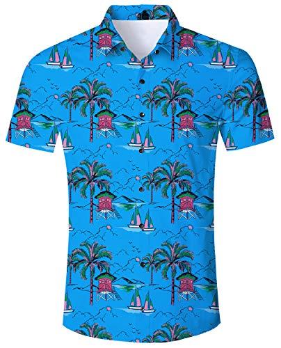 Goodstoworld Hawaiihemd Herren Freizeithemd Blau Kurzarm Schwarz Hemden 3D Druck Sommerhemd Männer Button Down Shirt L - Schwarzes Besticktes Hemd