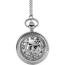 UNIQUEBELLA Pocket watch-Quartz-Men/ Women/ Children-Vintage-Alloy Chain/Necklace-A5 W117-Silver-Horse