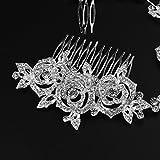 Frcolor Acconciature di cristallo dei monili nuziali nuziali delle donne di fascino dei Rhinestones della perla della decorazione della perla dei capelli del pettine dei capelli del pettine dei capelli