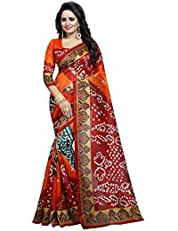 Kanchan Women's Crepe Printed Saree With Blouse Piece - KTBANDHANI 08_Multicolour_Free Size