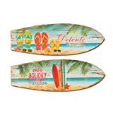 SIGIRIS - Decorazione da parete x 2 TAVOLA DA SURF, legno, 60x20 cm - 1359SG