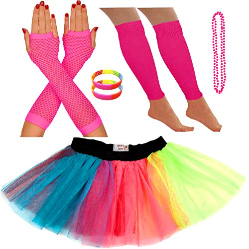 Redstar Fancy Dress® - Tutu-Röckchen, Beinstulpen, Netzhandschuhe, Perlenkette und breite Gummiarmbänder - Neonfarben - Regenbogen - 36-40 (80er Rock Outfit)