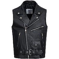 Gaudi-Leathers Veste Homme en Cuir Moto Biker Chopper Vest Gilet cuir moto veste de moto motard robe Brando Rockabilly