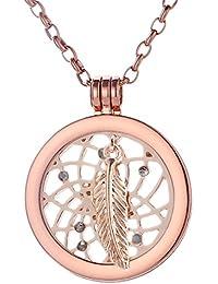 Morella Damen Halskette rosegold 70 cm Edelstahl mit Amulett und Coin 33 mm in Schmuckbeutel