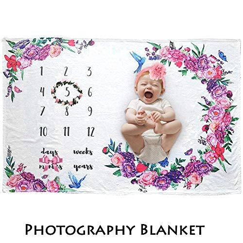 windyday Babydecken Monatliche Decken Fotohintergrund-Decke Aus Flanell Babyfotos Mit Meilenstein Druckmuster Für Neugeborenen Dusche Geschenke Für Jungen Mädchen 150X100 cm -