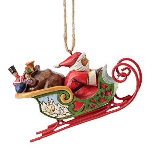 Creek Schlitten (Heartwood Creek 4053836 Santa In Sleigh - Hanging Ornament, Stein, bunt, 4.5 x 11 x 6.5 cm)