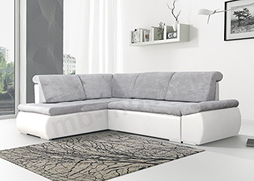 Ecksofa Sofa Eckcouch Couch mit Schlaffunktion und Bettkasten Ottomane L-Form Schlafsofa Bettsofa Polstergarnitur - BONITA (Ecksofa Links, Hellgrau +...