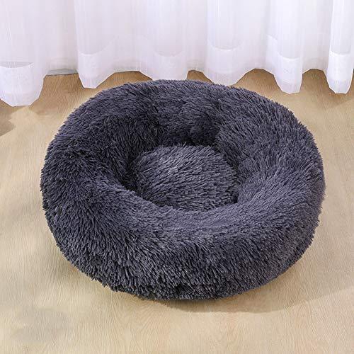 PICKME Hundebett Bequeme Donut Cuddler Runde Hundebett Ultra Soft Waschbar Hund Und Katze Kissenbett, Wasserdicht Bottom,Grau,80 * 80cm