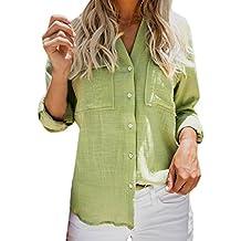 ... el corte ingles mujer. Tops de Lino de Algodón Mujeres Camisa de Manga Larga Sólida y Casual Botón de la