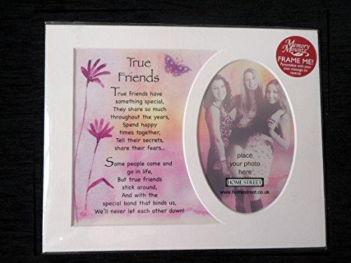 True friends Memory Halterung Geschenk zu feiern ein tolles Freundschaft mit einem schönen Vers Gedicht und einer Auswahl von Bilderrahmen, holz, Mount Only, 25 x 20 cm -