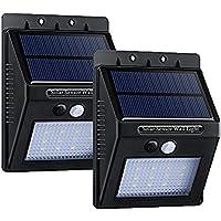 Topop Luci Solari Lampada Wireless con 320lm ad Energia Solare da Esterno con 16 Lampadine LED di Sensore di Movimento con Paralume Diamante, per Parete / Giardino / Cortile / Scale / Muro, con Funzione di Dusk to Dawn Dark Sensing Auto On / Off [2 Pezzi]