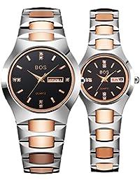 BOS resistente al agua de pareja relojes cuarzo de acero inoxidable reloj de pulsera para hombres mujeres 8006