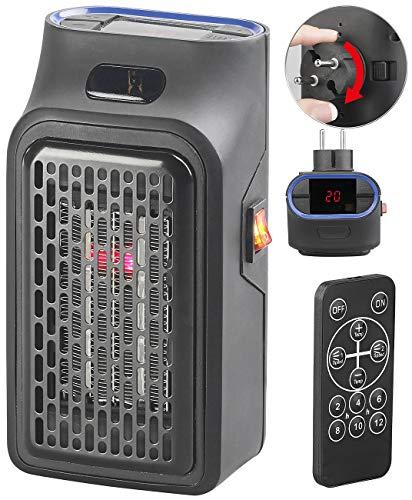 Sichler Haushaltsgeräte Steckdosenheizer: Mini-Steckdosen-Heizlüfter mit Timer & Fernbedienung, 2-stufig, 500 W (Mini Heizer)