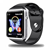 Kivors® Bluetooth Smart Armbanduhr mit Sim Card Slot GSM Sport Watch Activity Tracker mit Pedometer Smart Gesundheit Armbanduhr Handy für Android / IOS Smartphones (Schwarz)