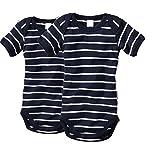 wellyou Baby und Kinder kurzarmbody/babybody mädchen und junge aus 100% Baumwolle, kurzarm body in marine-blau weiss 2er Set gr 80-86