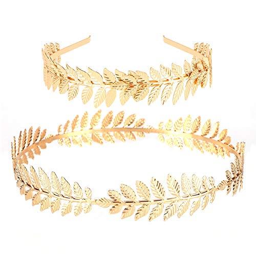 Tanersoned 2 Stück Blattgold Stirnband griechische Göttin Haarband Krone Braut Hochzeit Kopfschmuck (Griechische Göttin Kostüm Frisuren)