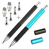 Lápiz Stylus / Stylus capacitivo (Disc & Fiber Tip Serie 2 en 1) con 2 discos de alta sensibilidad de reemplazo y 1 punta de fibra híbrida, universal en el lápiz óptico del iPhone, stylus y otras pantallas táctiles (2 piezas: azul + negro)