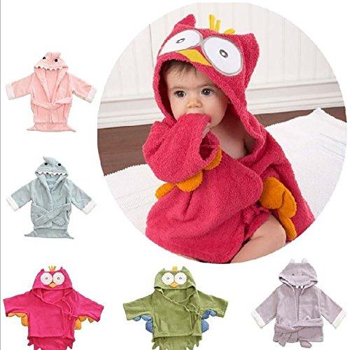 Mystery&Melody Baumwolle Baby Bademäntel Eule Hippo Tiere Spa Bademantel Baby Pyjamas Bademäntel (Owl)