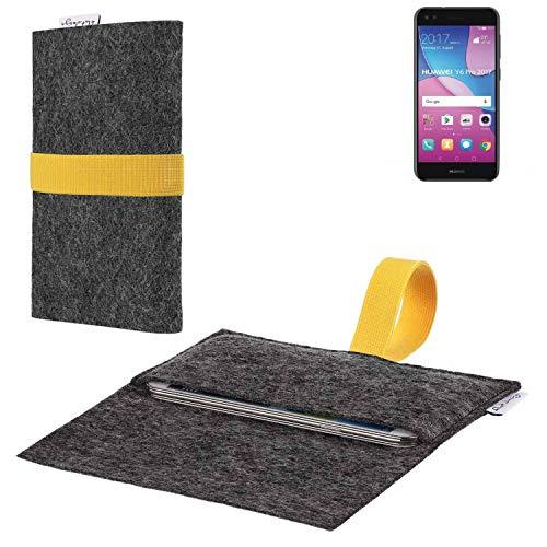 flat.design vegane Handy Hülle Aveiro für Huawei Y6 Pro 2017 Dual SIM passgenaue Filz Tasche Case Sleeve Made in Germany