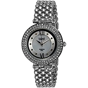 Burgi Women's Glamour Diamond Quartz Watch with Mother of Pearl Dial and Silver Alloy Bracelet BUR126SS