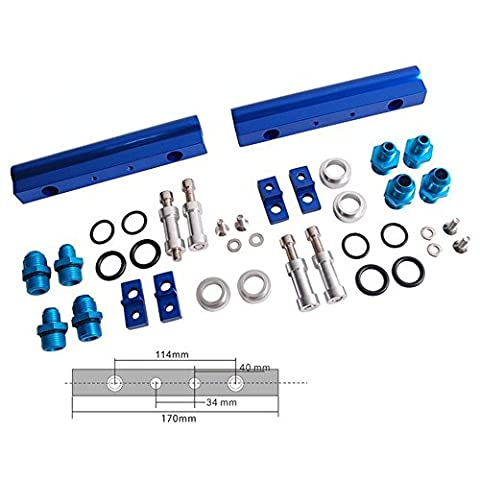 For Subaru Wrx Sti EJ20 EJ20T Top Feed Injector Fuel Rail Turbo Kit Blue Aluminium Billet