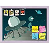 ArtzFolio Two Aliens & Spaceship Printed Bulletin Board Notice Pin Board cum White Framed Painting 16.1 x 12inch