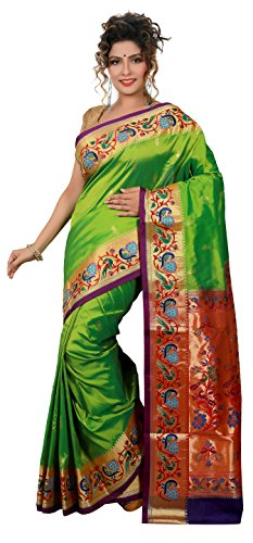 ARUNAFASHIONS Women's Raw Silk Saree (Pembro_Parrotgreen_Violet _Parrot Green)