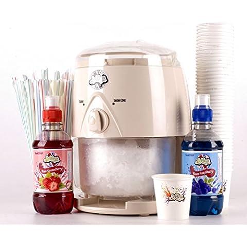 Máquina de Granizados Frozen Ice Afeitadora con Frambuesa azul y fresa, gratis pajillas y 2x 330ml botellas de Sirope