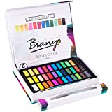 Bianyo Watercolor Paint Set - 36 Watercolors Field Sketch Set - Vibrant Colors - Professional Supplies - With Water Brush,8 Pieces Watercolor Paper By Bianyo