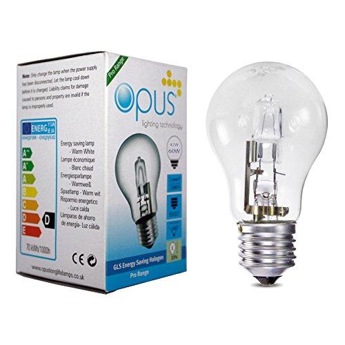 5 x Opus Bombilla Lámpara Halogena GLS ES E27 42W = 60W Blanco calido claro