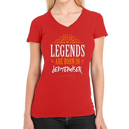 Legends are born in September - Geschenke Damen T-Shirt V-Ausschnitt Rot