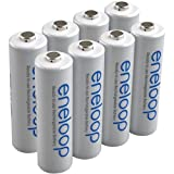 eneloop (3rd gen) AA 1800 Cycle, Ni-MH Pre-Charged Rechargeable Batteries, 8 Pack w/ battery holder - (discontinued by m